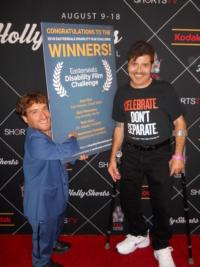 Nic Novicki and JB Abajain on the red carpet at HollyShorts Film Festival