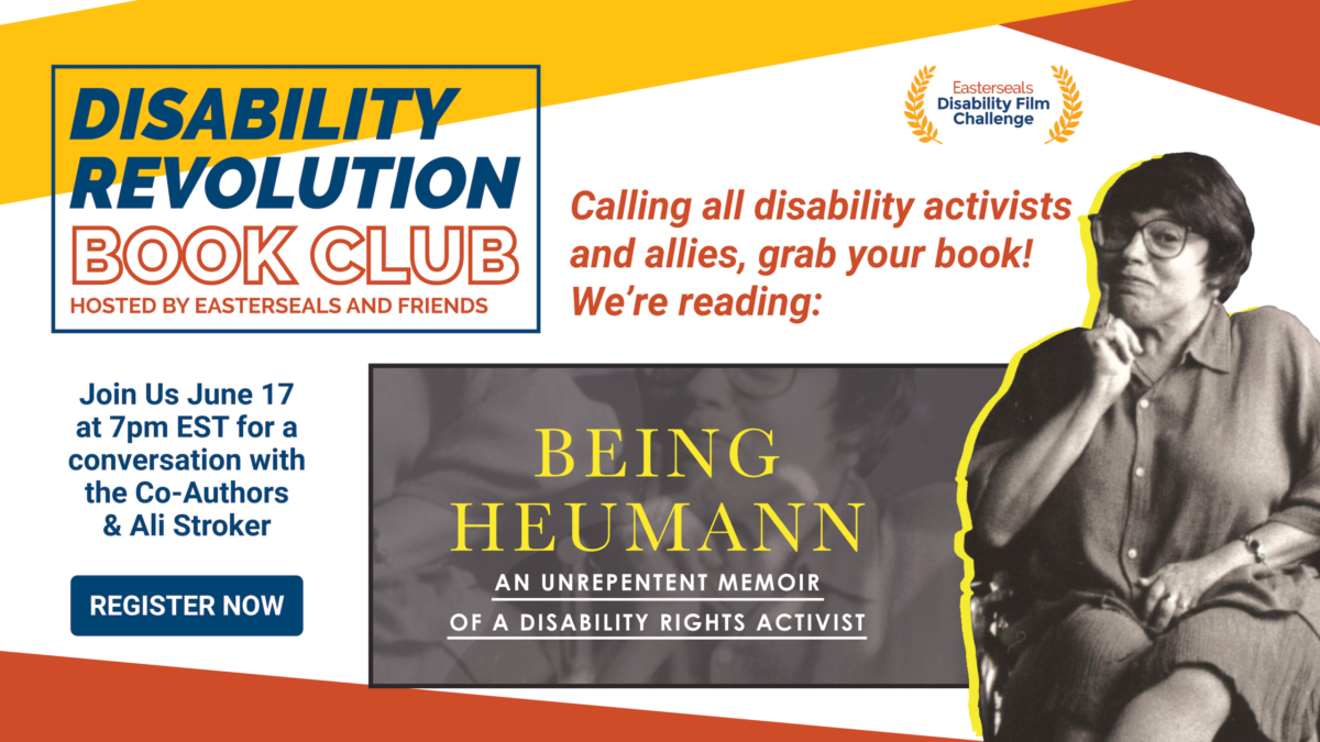 Flyer with photo of author Judith Hermann promoting Easterseals Book Club.