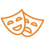 Orange comedy/tragedy actor mask