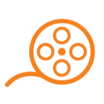 Orange film reel icon